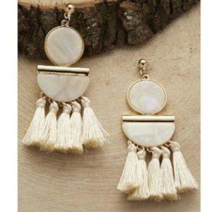 NEW Beige & Gold Iridescent Fringe Earrings